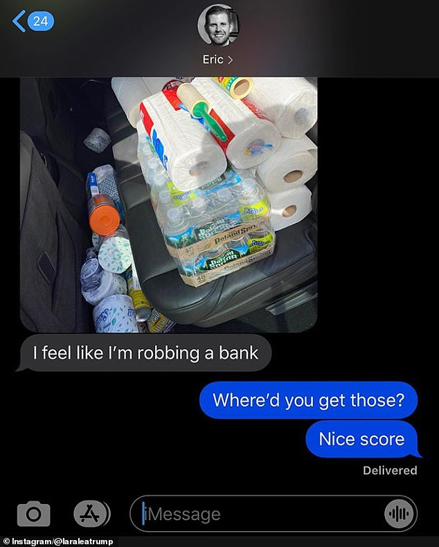 In-demand:She also recently posted a screenshot of the text message her husband sent her after he picked up toilet paper, bottled water, and paper towels for their home