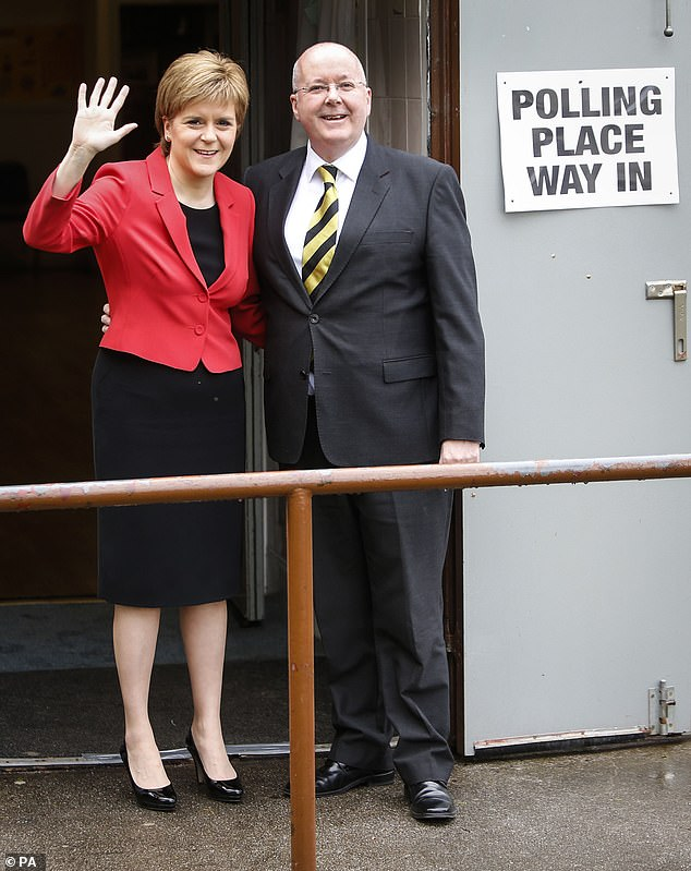 SNP leader Nicola Sturgeon with her husband Peter Murrell. Scotland's First Minister said she would not support a 'wildcat referendum,' similar to the illegal independence vote in Catalonia in Spain in 2017 which resulted in its leaders being jailed