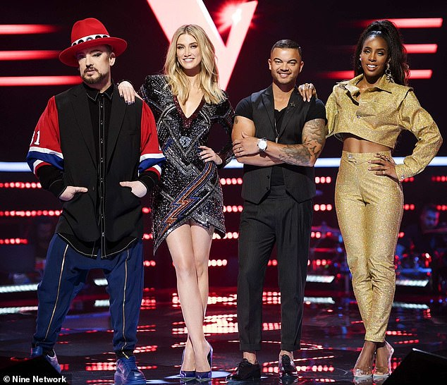Lineup change? Despite the blind rounds being filmed already, strict travel conditions around the world could see judges Boy George and Kelly Rowland replaced on the panel. Pictured: Boy George, Delta Goodrem, Guy Sebastian and Kelly Rowland