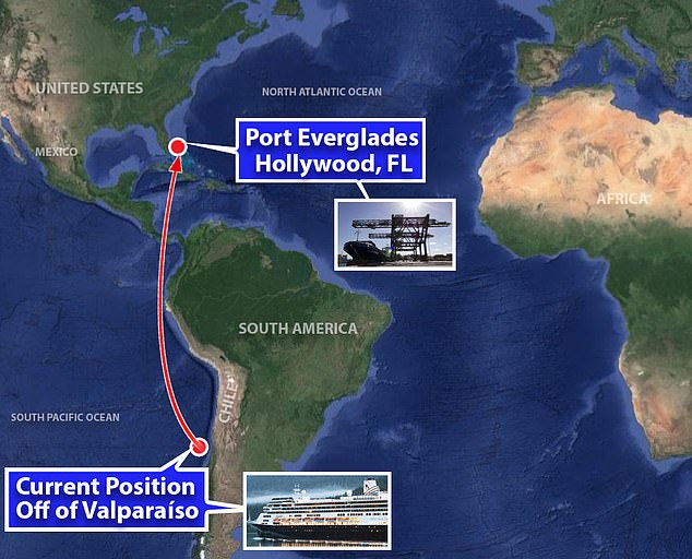 The liner set sail on a two-week voyage from Buenos Aires, Argentina, on March 7 and was due to arrive in Chile on March 21. It is now off Valparaiso, Chile, and heading to Fort Lauderdale