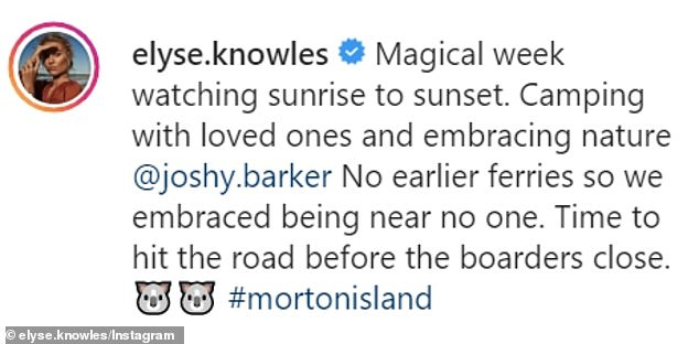 No worries! 'Magical week watching sunrise to sunset,' the blonde wrote next to a photo of herself posing in a leopard-print bikini top as she and Josh relaxed on a beach campsite