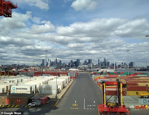 Melbourne's West Swanson Terminal where the OOCL Shanghai docked on Tuesday night
