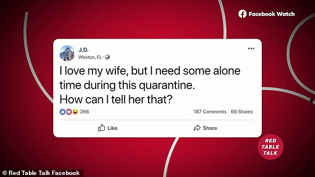 Help!As seen in a teaser for her next episode, a fan asked via Twitter, 'I love my wife, but I need some alone time during this quarantine. How can I tell her that?'