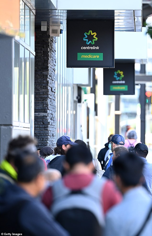 Thousands more jobs are expected to be lost as a result of the pandemic (Pictured: A Centrelink office in Melbourne)