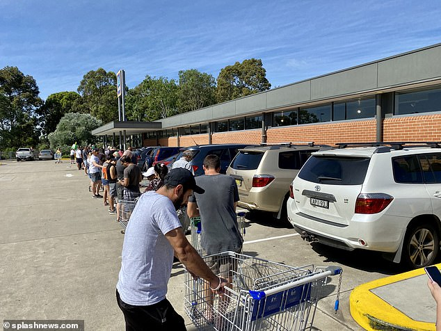 The queue at Rouse Hill Aldi started two hours before the store opened last week