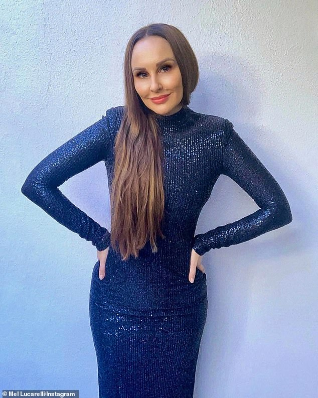 Blue beauty! Former Married At First Sight star Melissa Lucarelli (pictured) flaunted her incredible figure in a blue gown before going into social isolation