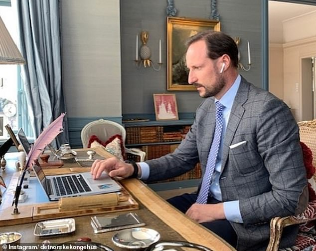 NORWAY: Crown Prince Haakon of Norway, who is married to Crown Princess Mette-Marit, shared this photo showing him on a video conference call with Norwegian healthcare workers. It was posted alongside a caption thanking them for their hard work during the pandemic