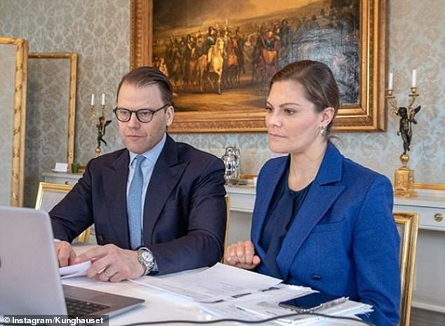 SWEDEN: Crown Princess Victoria of Sweden and her husband Prince Daniel yesterday shared this photo of them speaking to a number of agencies in order to better understand the national coronavirus situation. The photo was taken atHaga Palace, in Stockholm, where they live