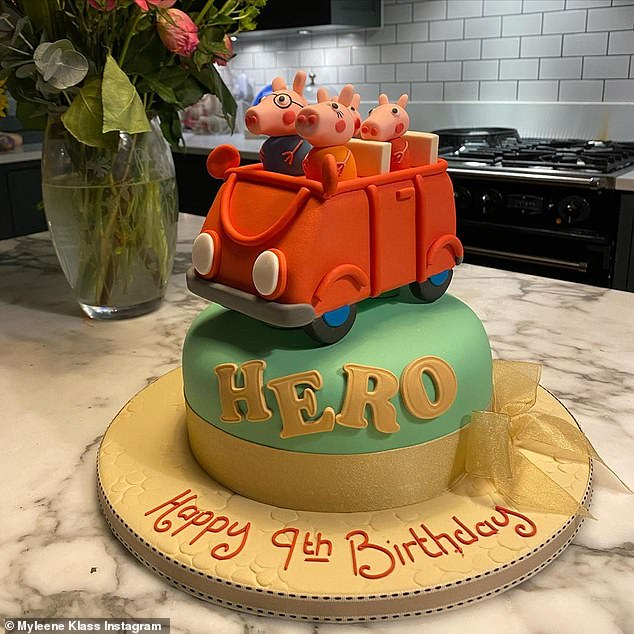 Special day: Myleene also shared this picture of youngest daughter Hero's birthday cake as she turned nine years old