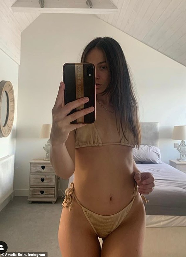 Sunshine:Amelia has been sharing updates from her self isolation in Dorset, including bikini snaps