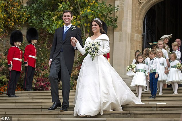 Bookies have suspended betting on Princess Eugenie announcing she is expecting her first child with husband Jack Brooksbank, after they received an influx of bets from punters (seen on their wedding day in Ocrober 2018