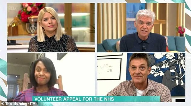 Speaking out: The broadcaster appeared via videolink from his home alongside fellow contributor Michelle Gayle as hosts Holly Willoughby and Phillip Schofield discussed some uplifting stories amidst the COVID-19 pandemic