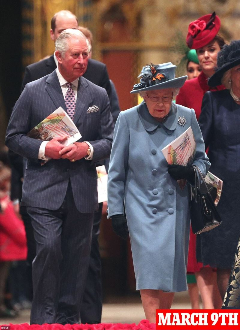 Charles was last seen with the Queen on March 9 at the Commonwealth Service at Westminster Abbey and saw her again on March 12 - 24 hours before his doctor claims he became contagious. Her Majesty is well but taking appropriate medical advice and is with Philip at Windsor with a skeleton team of just eight