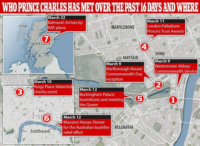 MailOnline has plotted Charles movements over the past 16 days, where he is likely to have met hundreds of people over the past few weeks where he caught coronavirus