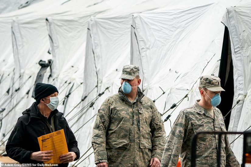 National Guard troops are part of the strategy in New York City to cope with the virus; they are building makeshift hospitals
