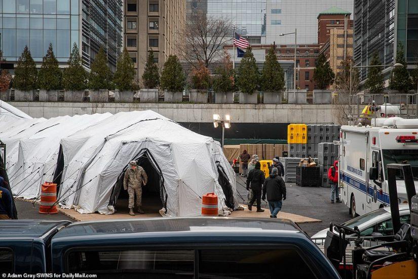 The National Guard at Bellevue Hospital in Manhattan on Wednesday setting up an external coronavirus treatment center