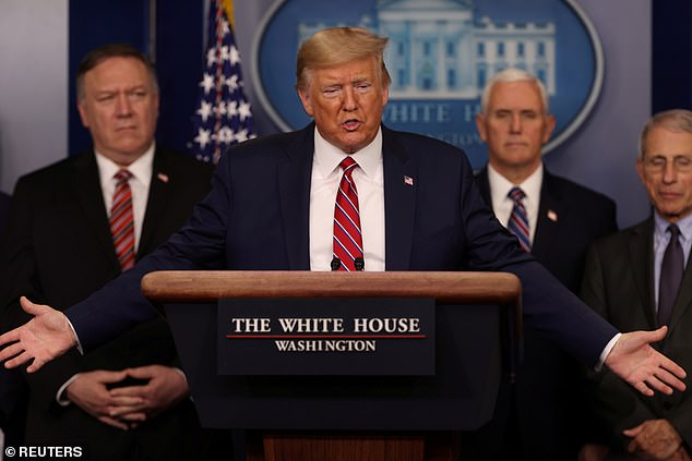 Not a fan of his: Kathy said that the President was 'lying.' Griffin explained: 'I was sent to the #COVID19 isolation ward room in a major hospital ER from a separate urgent care facility after showing UNBEARABLY PAINFUL symptoms. 'The hospital couldn't test me for #coronavirus because of CDC (Pence task force) restrictions.' Trump on March 20