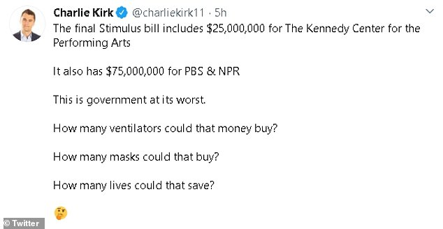 Before President Trump defended the funding conservatives like Turning Point USA's Charlie Kirk were using it to blast Democrats for wasteful spending in the stimulus package