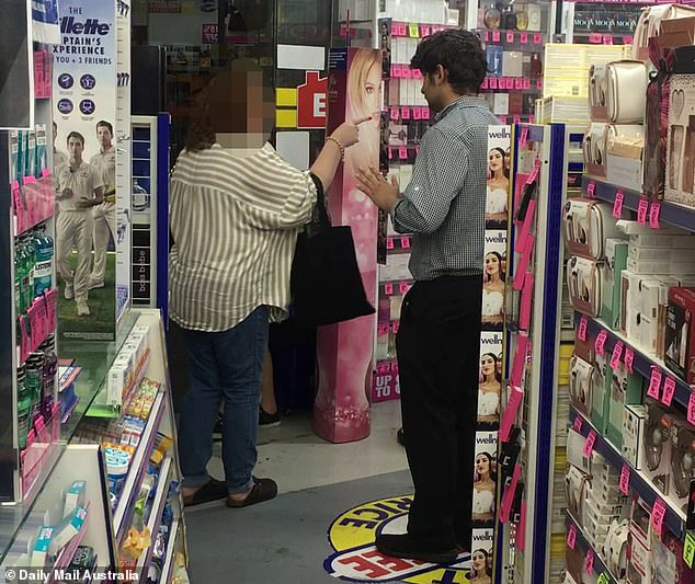 In the same block, Daily Mail Australia witnessed a customer swearing at Chemist Warehouse staff after she was told they would no longer be offering refunds under new COVID-19 rules. After threatening to take them to the Australian Competition and Consumer Commission, the woman standing next to her teenage son aggressively pointed at a security guard and another man who deals with customers