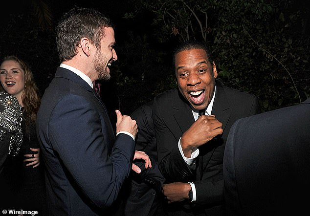 "Singer and actor Justin Timberlake (left) and rapper Jay-Z at GQ's 2011 ""Men of the Year"" Party held at Chateau Marmont in November 2011"