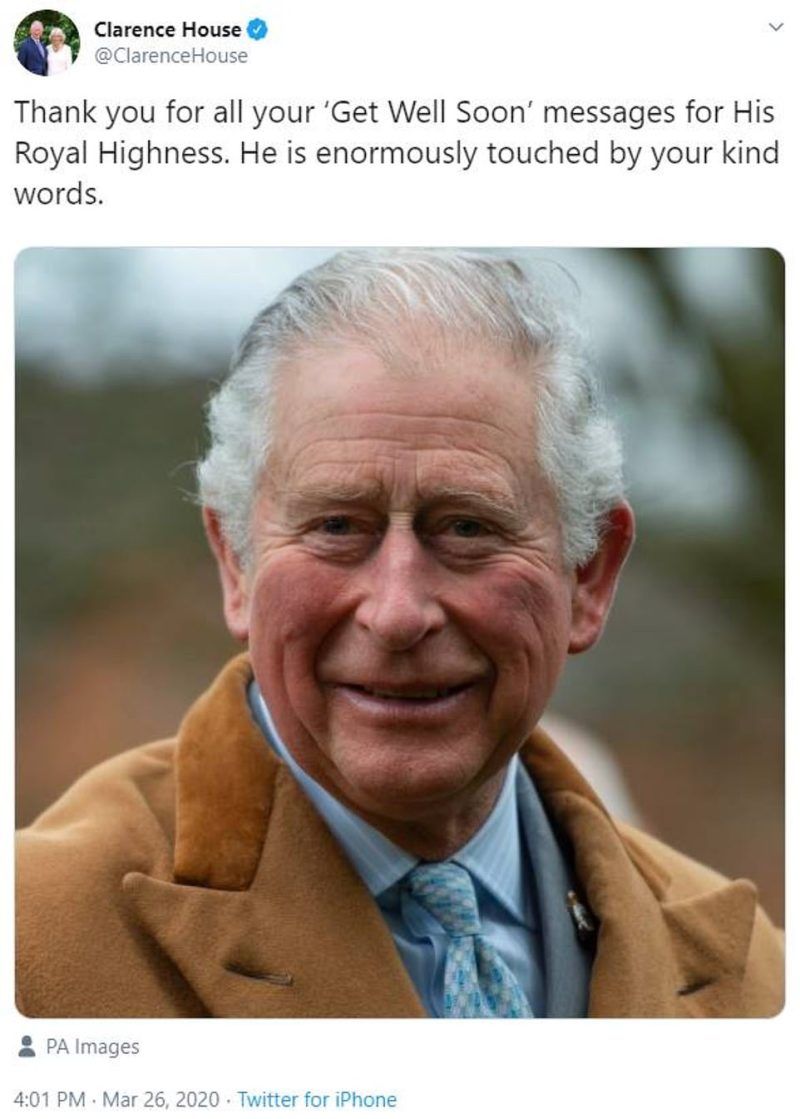A tweet from Clarence House today said: 'Thank you for all your 'Get Well Soon' messages for His Royal Highness. He is enormously touched by your kind words'