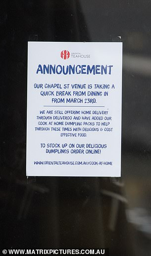 Restaurants on Melbourne's popular Chapel Street have been forced to resort to takeaway services only, in light of the new restrictions