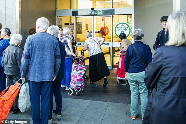 Jean went to Woolworths in search of antibacterial wipes which have been almost impossible to get in Australia since the outbreak of the COVID-19 crisis in January (pictured, elderly shoppers wait for Woolworths in Balmain, Sydney to open for its dedicated 'seniors hour' on Tuesday, March 17)