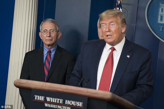 Pictured: Dr. Anthony Fauci and President Donald Trump giving remarks about the coronavirus outbreak during a press conference Wednesday