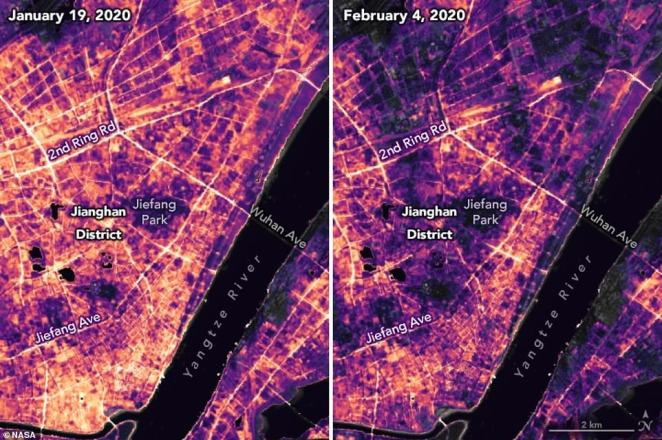 NASA captured the lighting changes in Jianghan District, a commercial part of Wuhan after authorities suspended travel and placed restrictions on other activities, such as social gatherings. The two images, taken 16 nights apart, show how the lack of human activity has changed the face of the area at night - street lights are dimmed and business had gone dark