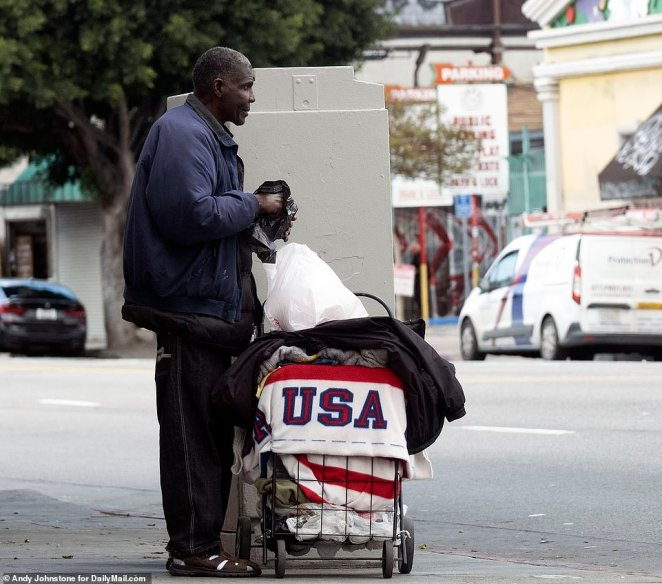 The number of people visiting Los Angeles' notorious Skid Row for free meals has tripled since the city went on lockdown two weeks ago, DailyMail.com can disclose
