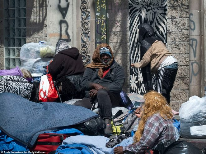 Large crowds could also be seen outside other Skid Row non-profits at mealtimes when DailyMail.com visited last Wednesday and Thursday
