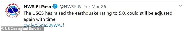 An update tweeted by the USGS upgraded the largest quake's rating from 4.7 to a 5.0