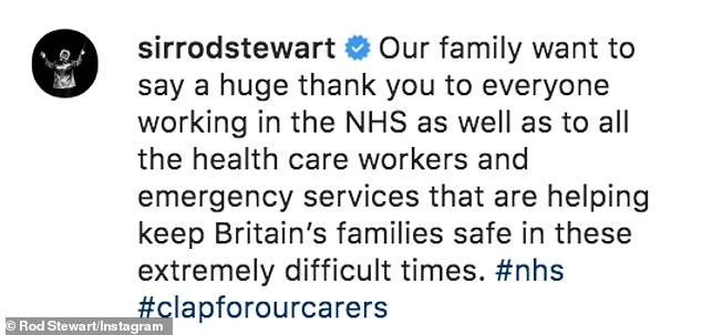 Lockdown:Rod and his family followed the nationwide applause in honour of NHS workers on Thursday during the UK coronavirus lockdown