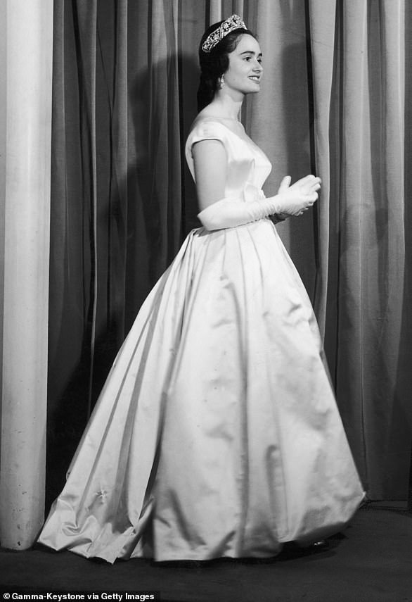 Maria Teresa Of Bourbon Parma Wearing A Jacques Heim Evening Dress in her younger years