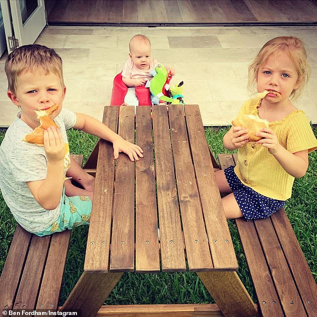 Meet the kids: Ben shares three children Freddy (left), Pearl (right) and six-month-old baby Marigold (centre) with Channel Seven presenter Jodie Speers