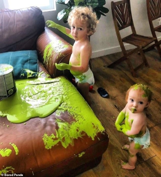 What a mess! These mischievous children spilt vibrant green paint all over their American mother's home - including her leather sofa