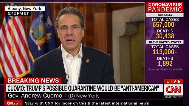 'If you start walling off areas all across the country it would just be totally bizarre, counter-productive, anti-American, anti-social,' said New York governor Andrew Cuomo in an interview with CNN on Saturday