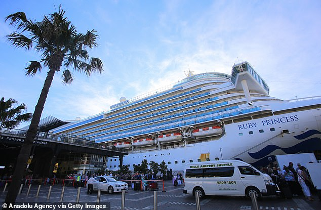 The ship docked in Sydney Harbour (pictured at Circular Quay on March 19) and more than 100 infected travellers were allowed to disembark the ship without any checks