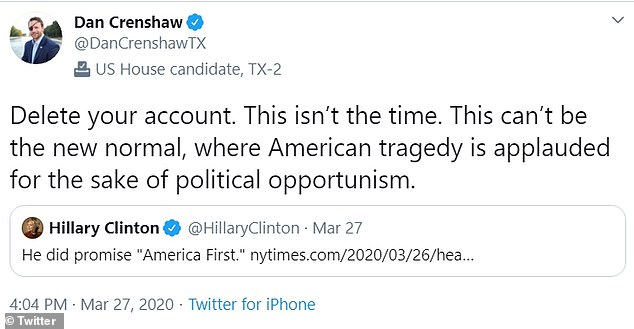In return, Crenshaw told Clinton to 'delete your account' - using a memorable tweet that Mrs Clinton used herself against Trump during the 2016 election campaign