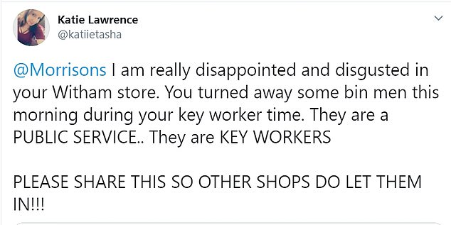 Meanwhile key workers, including refuse workers and social carers were turned away from various stores during their designated quiet periods