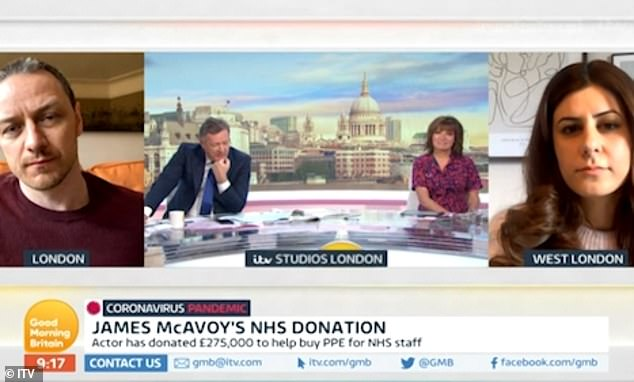 The X-Men actor, 40, told ITV's Good Morning Britain: 'One of the main reasons I wanted to give money... was more to show a sign of support to the frontline staff' [Dr Mona Barzin, one of those behind the campaign, is also pictured]