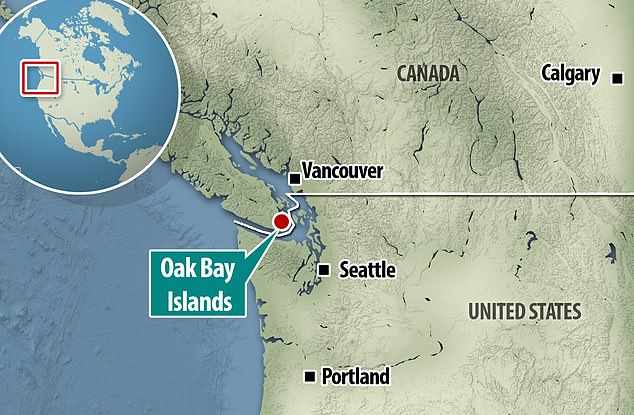 Pictured: A locator map shows the Oak Bay Islands, which includes Discovery Island, where Takaya lived for eight years