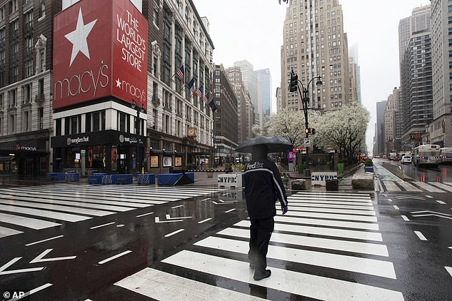 Macy's is furloughing most of its 130,000 workers beginning this week as its sales have collapsed because of the coronavirus pandemic. The New York flagship store is pictured