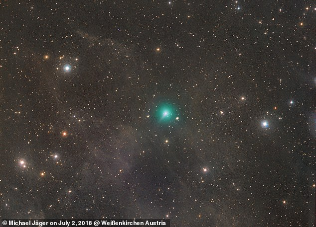 This superb image of comet C / 2019 Y4 ATLAS was taken by Michael Jäger on March 18, 2020 and shows its bright green hue. The exact size of the strange comet's rocky ice core is not known but is probably only a few kilometers in diameter - but it has a much larger atmosphere