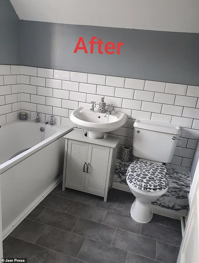 The mother-of-three bought tiles, paint, fablons and a couple of sealants and adhesives to stick everything in together, The mother-of-three removed all her old tiles and fitted it in herself with a filler (pictured after)