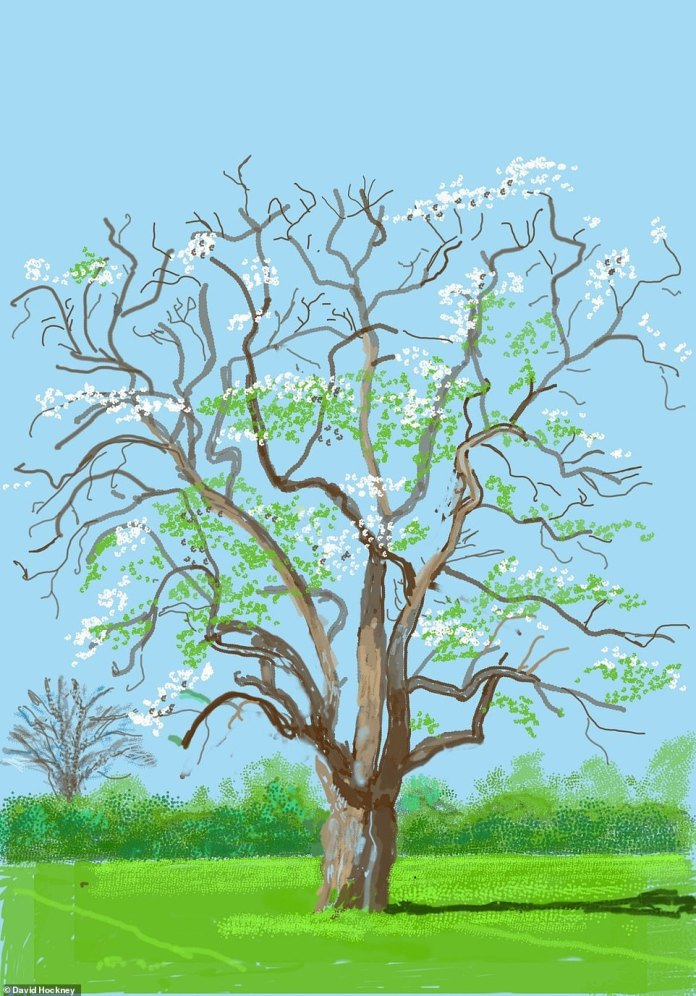 A winter tree in blossom sits against a bright green and blue background. The artistrecorded how he experiences reality through his artwork, without flattening out this nuance with a camera, with the images as a product of drawing what he sees