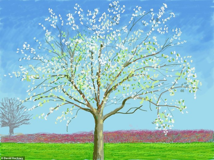 A winter tree in a further development of blossoming. Hockney has lived at the property with two of his long-standing assistants, JP and Jonathan, throughout the entire lockdown, since early March