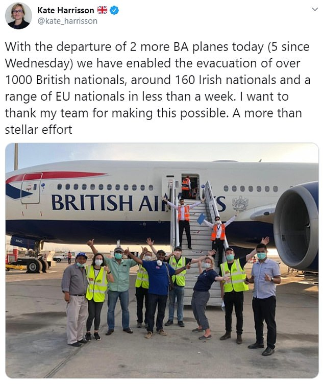 British Ambassador to Peru, Kate Harrisson, said that she had helped evacuate more than 1,000 British nationals from the country.