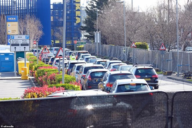 The testing facility at Ikea in Wembley was also busy today, with cars queuing to get swabbed for the life-threatening coronavirus