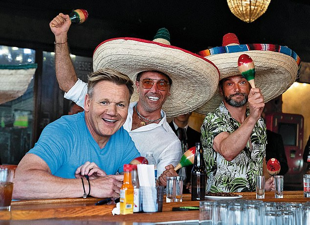 Party plans: Fred revealed that his upcoming stag do was being handled by showbiz chef pal Gino D'D'Acampo and catering his wedding (pictured:Gordon Ramsay, Gino D'Acampo and Fred Sirieux inGordon, Gino & Fred: American Road Trip)